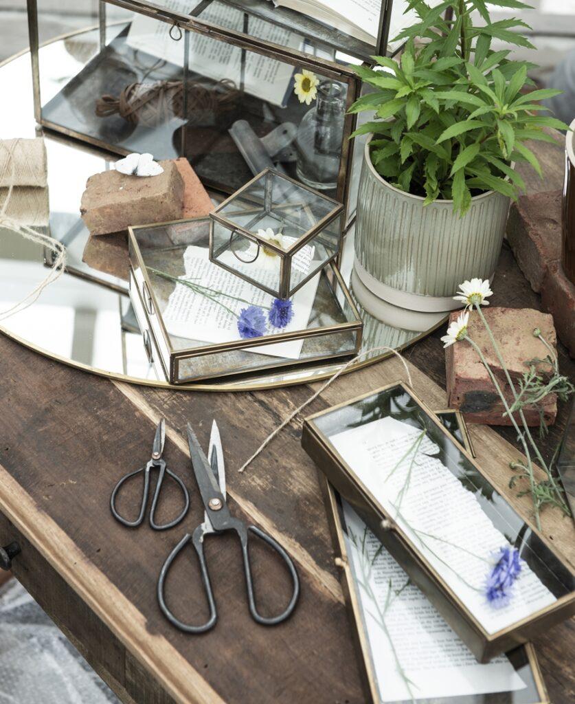 Aufbewahrungskästen von Ib Laursen in Metall und Glas