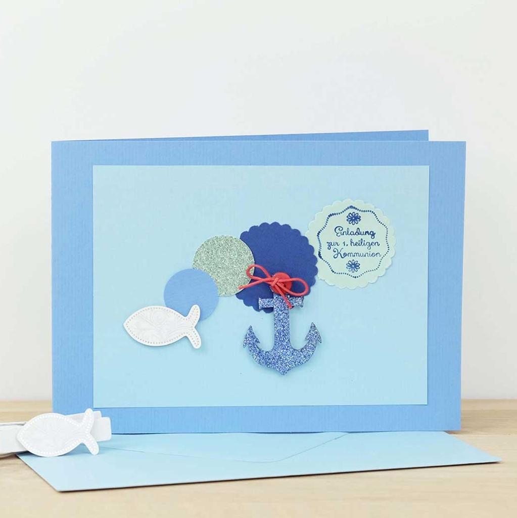 kofirmationskarte mit Fisch und Anker
