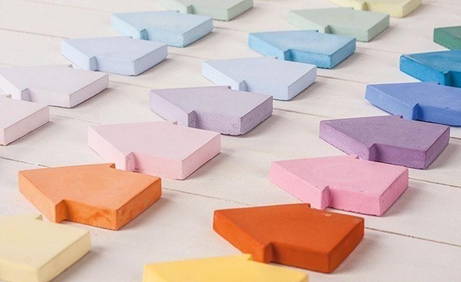 Häuser aus raysin in bunten farben