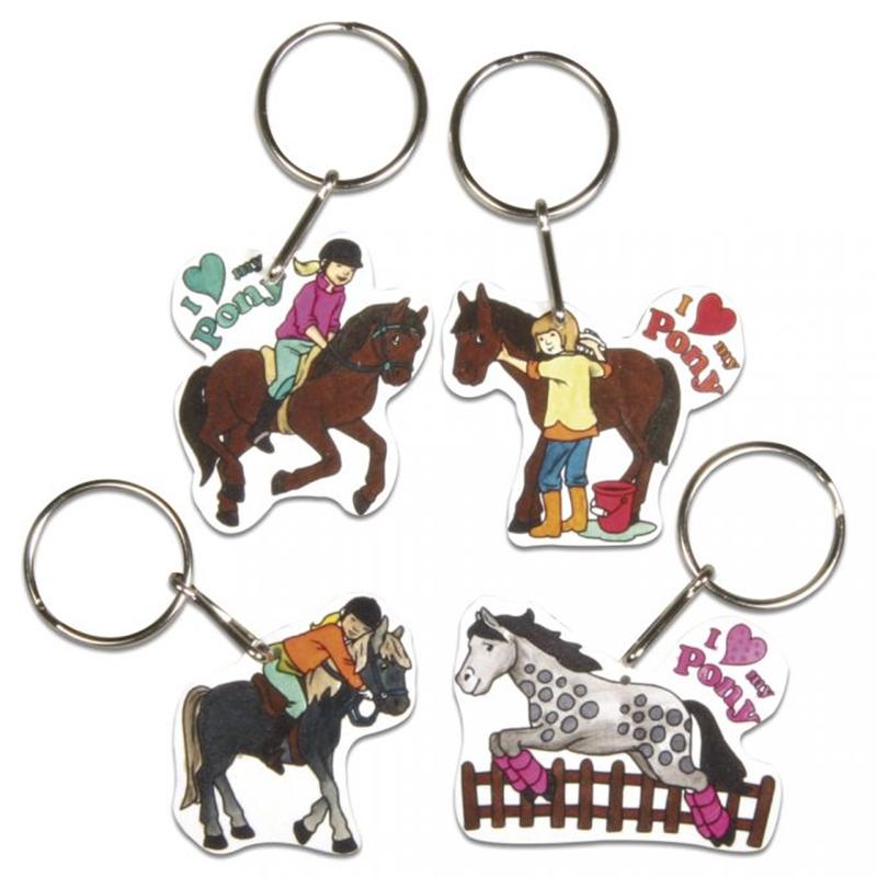 Schlüsselanhänger aus Schrumpffolie, Pferdemotive