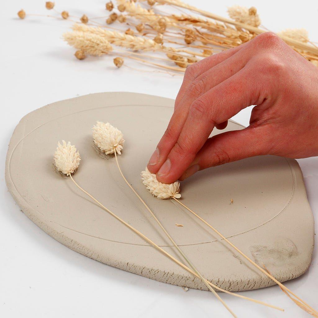 Gräser werden in Modelliermasse gedrückt
